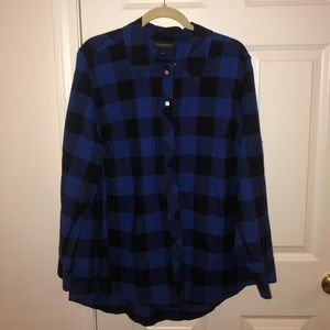 Plus Size Blue and Black Buffalo Checkered Shirt